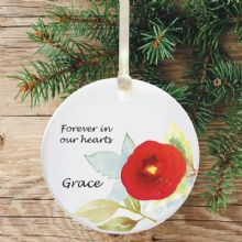 In Loving Memory Personalised Remembrance Christmas Tree Decoration - Floral Watercolour Design